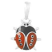 925 Solid Sterling Silver Necklace Charm Pendant, 3d Enamel Ladybug Pendant