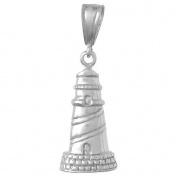 925 Solid Sterling Silver Nautical Necklace Charm Pendant, Lighthouse High Polis