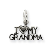 14k White Gold I Love My Grandma Charm - Measures 13.5x14.7mm - JewelryWeb