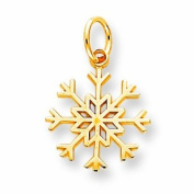 Genuine 10K Yellow Gold Solid Polished Snowflake Charm 0.8 Grammes Of Gold