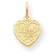10k I LOVE YOU HEART CHARM - JewelryWeb