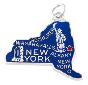 Sterling Silver One Sided Enamelled State of New York Charm