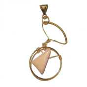 Opal Pendant 05 Statement Pink Antiqued Brass Crystal Stone Circle 8.9cm