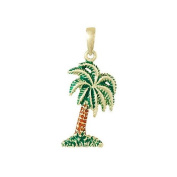 925 Solid Sterling Silver Necklace Charm Pendant, Palmetto Tree Enamel - Palm Tr