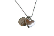 Sterling Silver Heart Initial Charm Letter Blank Hand Stamped With 41cm Silver Bead Chain