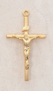 22kt. Gold over Sterling Silver, Gold Crucifix Cross with 46cm Chain, 3.5cm H