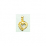 14k Gold Hearts Necklace Charm Pendant, Open Heart With Cut Out Lace & Solid