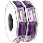 "Authentic Chamilia Charm ""Double Baguette"" (Purple) 2083-0402"