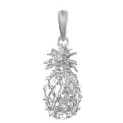 925 Solid Sterling Silver Novelty Necklace Charm Pendant, Pineapple