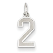 14k White Gold Small Satin Number 2 Charm - Measures 20x7.4mm - JewelryWeb