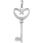 925 Solid Sterling Silver Novelty Necklace Charm Pendant, Pretzel Heart Key To M