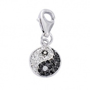 Sterling Silver Black & White Cubic Zirconia Yin Yang Moon Sun Charm - Clip on Pendant