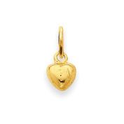 14k Solid Polished Plain Puffed Heart Charm