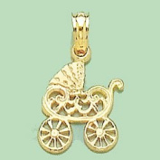 14k Gold Baby Children's Necklace Charm Pendant, Baby Stroller Cut-out