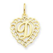 14k Yellow Gold Initial D Charm Pendant. Metal Wt- 0.95g