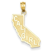 14k Cali Girl State Pendant, Best Quality Free Gift Box Satisfaction Guaranteed