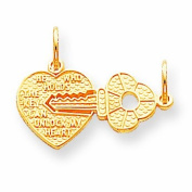 Genuine 10K Yellow Gold Heart And Key Charm 1.1 Grammes Of Gold