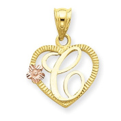 14k Two Tone Gold Initial C in Heart Charm Pendant. Metal Wt- 1.07g