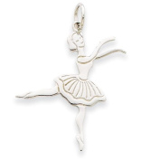 14k White Gold Satin Polished Ballerina Charm