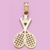 14k Gold Charm Double Tennis Racket Ball