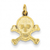 14k Skull and Bones Charm - JewelryWeb