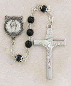 "Sterling Silver Black First Communion Rosary 5mm Bead 1 3?8"" Crucifix Gift Boxed"