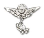 Sterling Silver Baby Badge with Praying Hands Charm and Angel w/Wings Badge Pin