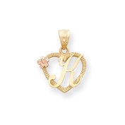 14k Two Tone Gold Initial K in Heart Charm Pendant. Metal Wt- 1.14g