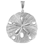 925 Solid Sterling Silver Nautical Necklace Charm Pendant, Sand Dollar Pendant T