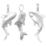 925 Solid Sterling Silver Nautical Necklace Charm Pendant, 3d Shark Swimming Hig