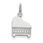 14k White Gold Solid Polished Baby Grand Piano Charm
