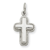 14k Gold White Gold Polished Cross Charm