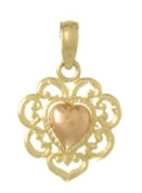 Gold Charm Heart With Lace Fringe Two-colot