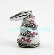 Judith Leiber White Cake Crystal Charm Jewellery. 18k Gold Pltd