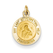 14k Yellow Gold Our Lady of Perpetual Help Medal Charm.