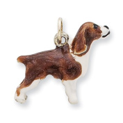 Sterling Silver Enamelled English Springer Spaniel Charm, Best Quality Free Gift Box Satisfaction Guaranteed