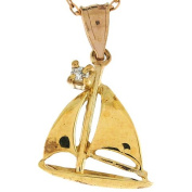 14k Yellow Gold Diamond 2.0cm Sailboat Ocean Nautical Charm Pendant