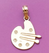 14k Gold Necklace Charm Pendant, Paint Pallet And Brushes High Polish