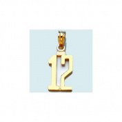 14k Gold Birthday Milestone Necklace Charm Pendant, Number Twelve 12 Block Style