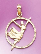 14k Gold Profession Necklace Charm Pendant, Dancer In Disc Engraved