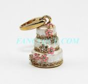 Judith Leiber Gold & Cream. Crystal Charm Jewellery 18k Gold PLTD