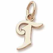 Rembrandt Charms Letter T Charm, 10K Yellow Gold