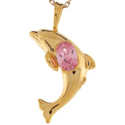 14k Real Yellow Gold Pink CZ Dolphin Designer Charm Pendant