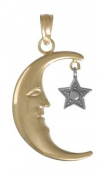 14k Gold Celestial Necklace Charm Pendant, Half Moon With Dangling White Star Tw