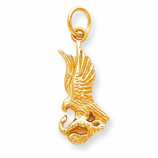 Genuine 10K Yellow Gold Solid Polished Eagle With Serpent Charm 1.6 Grammes Of Gold