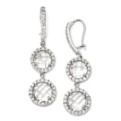 Sterling Silver Checker-cut CZ 2-stone Kidney Wire Earrings