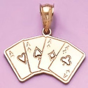 Gold Misc Charm Pendant Playing Cards W 4 Aces Spread