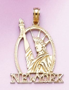 Gold Charm New York Statue Of Liberty Profile
