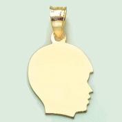 14k Gold Necklace Charm Pendant, Boy Silhouette, High Polish