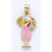 14k Gold Necklace Charm Pendant, Pink Tropical Drink With Multi-colour Umbrella &